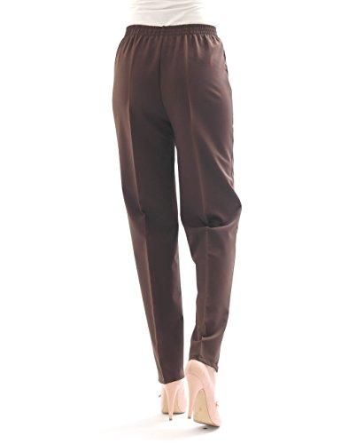 Pantalon Femmes droit Collants Formulaire de bordereau Ceinture extensible à plis taille N - Marron, 36(Français) - 44(Italien)