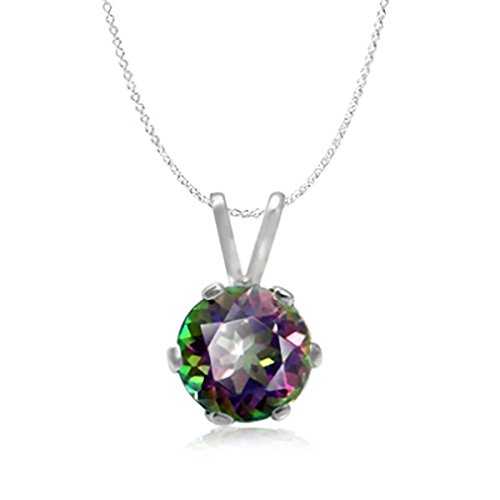 1.03ct. Mystic Fire Topaz Sterling Silver Solitaire Pendant w/ 18 Inch Chain Necklace ()