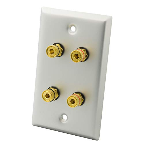 (YinXiong Aluminum Metal Home Theater Banana Plug Binding Post 2.0 Speaker Wall Plate (2.0) )
