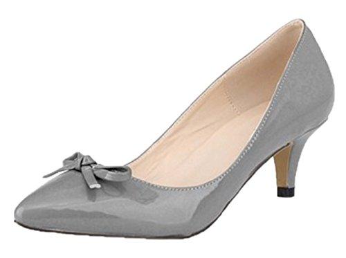 HooH Women's Pointed Toe Sweet Bowknot Kitten Pumps-Grey-37