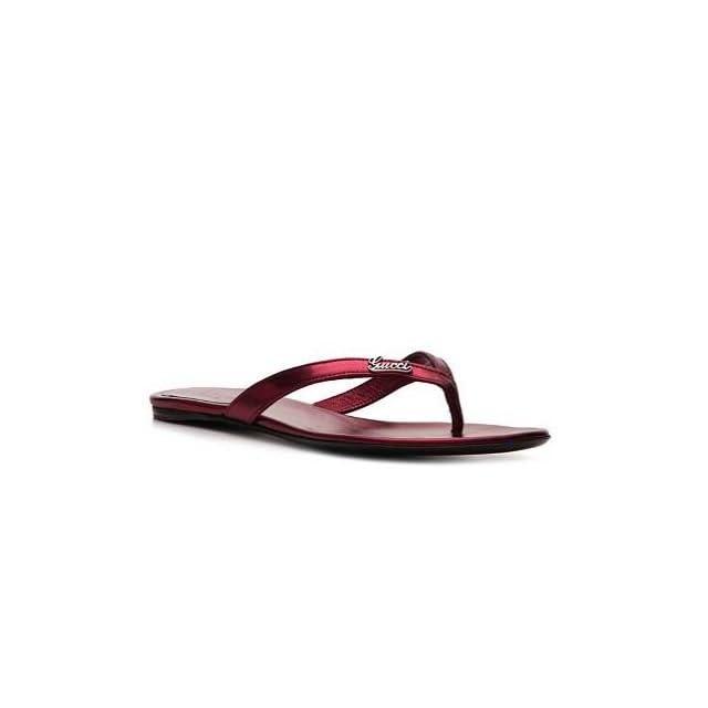 Sandals Flip flops Flat Made in Italy   Metallic Burgundy Shoes