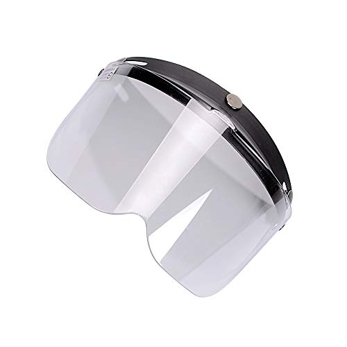 - Clear 3-Snap Flip Up Full Shield Visor Universal Motorcycle Open Face Helmet Anti Fog-Coating UV Protection