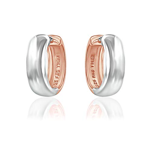 Two Tone Rose Gold Flashed and Sterling Silver Ear Cuff Hinged Huggie Hoop Earrings for Women Girls, 16mm Diameter