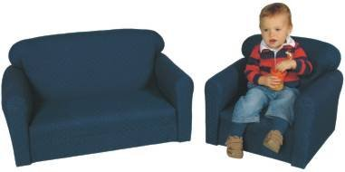 Childs Play Wooden Frame Upholstery Pin Dot Pattern Furniture Set, Blue (2 Piece) by Childs Play