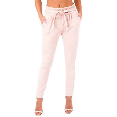 Femmes Casual JackenLOVE Rose Pantalons Taille Unie Long Couleur Haute avec Pants Bandage Fashion Slim dqwaw5F6x