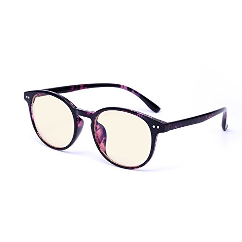 Anti Blue Light glasses 0.0 Magnification Reading Glasses for Computer/Gaming Women Men( Purple