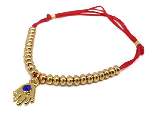 Nazareth Store Red String Bracelet Hamsa Hand with Gold Beads Evil Eye Thread Kabbalah Luck Charm Adjustable Jerusalem Bangle ()