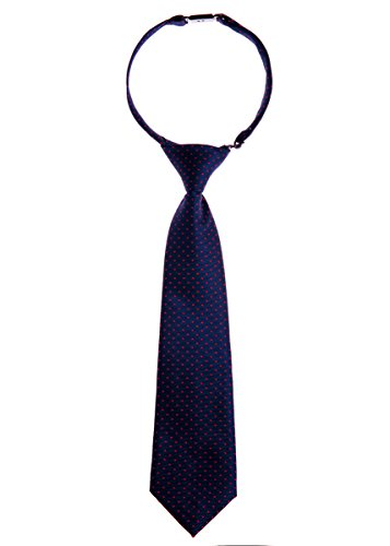 Retreez Modern Mini Polka Dots Woven Microfiber Pre-tied Boy's Tie - Navy Blue with Red Dots - 4 - 7 years