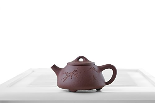Yixing Clay Teapot with Long Spout Ceramic Kettle Tea Pot Chinese Teaware Pottery (dark brick, red)