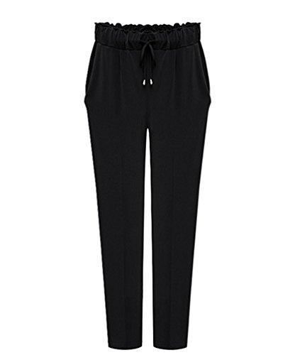YiLianDa Las Verano Mujeres Casual Pantalones Sueltos Culottes Stretch Pantalón Negro