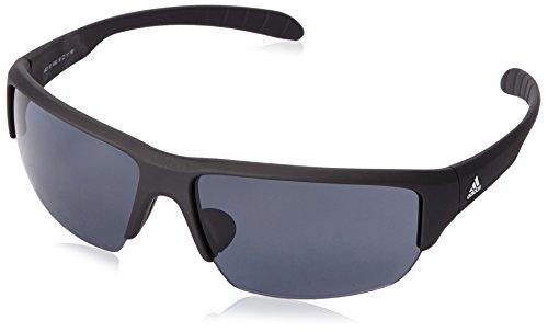 adidas Kumacross Halfrim A421 6063 Rectangular Sunglasses, Black Matte, 64 mm (Sunglasses Men Adidas)