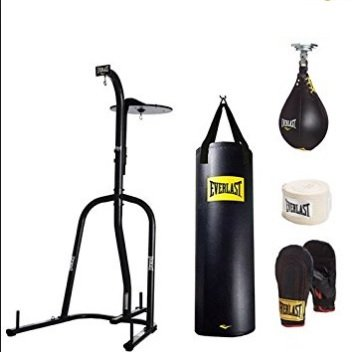 (Everlast Dual Station Heavy Bag Stand, 100-lb, Speedbag, Value Bundle)
