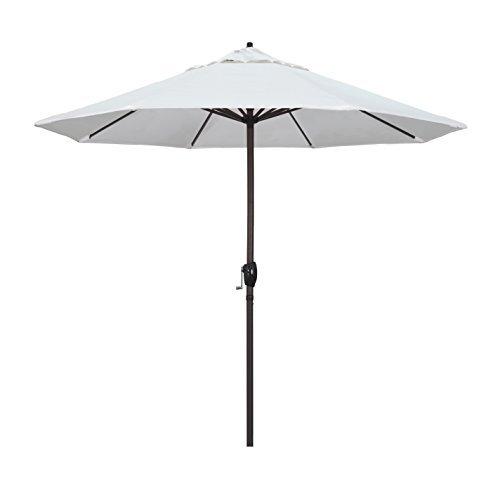 California Umbrella 9' Round Aluminum Market Umbrella, Crank Lift, Auto Tilt, Bronze Pole, Sunbrella Natural Fabric