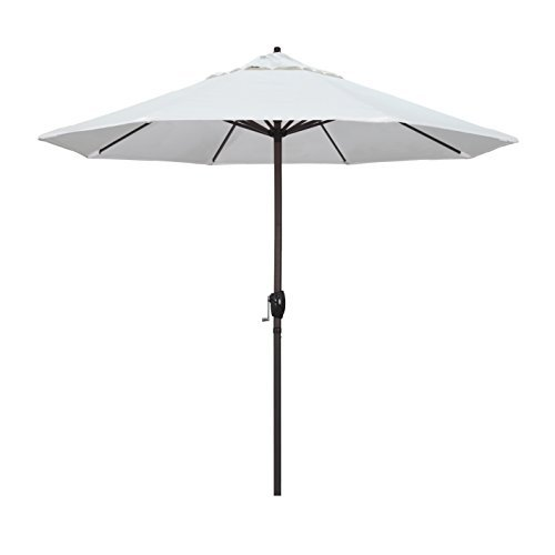 California Umbrella 9' Round Aluminum Market Umbrella, Crank Lift, Auto Tilt, Bronze Pole, Sunbrella Natural - Auto Sunbrella Aluminum Umbrella Tilt