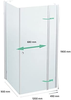 Cabina de ducha 120 x 90 cm, mampara 120 x 90 x 190 cm, Elox ...