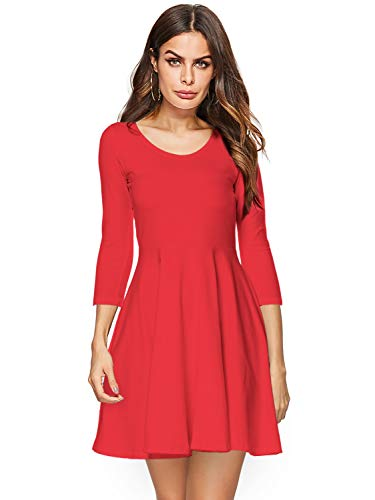 Amoretu Skater Dress, Cute 3/4 Sleeve Flared Midi Summer Dress Red S