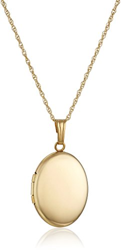 14k Yellow Gold Polished Oval Locket Necklace, 18'' by Amazon Collection