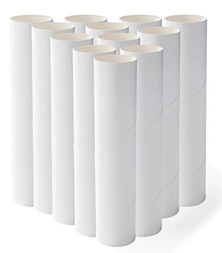 Genie Crafts 12-Pack Craft Rolls - 8-Inch White Paper Cardboard Tubes for DIY Arts and Crafts -