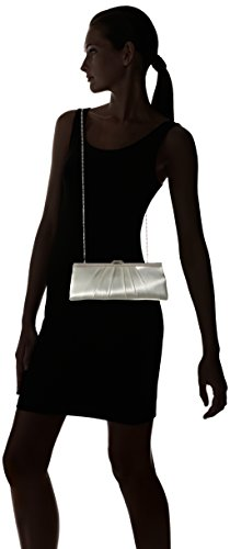 Blaire Satin Framed Clutch Evening Bag, Ivory, One Size by Jessica McClintock (Image #6)