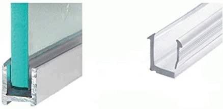 Perfil en U para cabinas de ducha, de aluminio, para cristales de 8 mm de grosor, en diferentes longitudes, aspecto cromado o acero inoxidable cepillado, perfil estrecho para fijación de mampara de