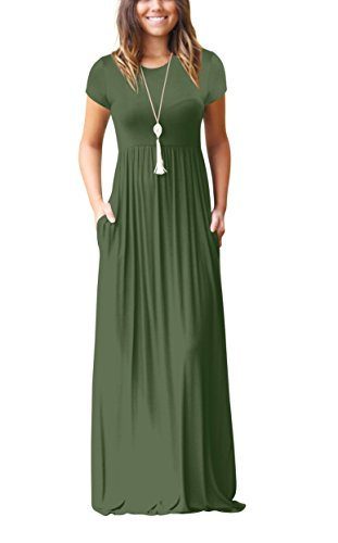 ZIKKER Women Short Sleeve Solid Color Loose Plain Long Maxi Dress Casual Pockets Dresses Green Small