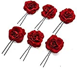 Buorsa 6Pack Elegant Red Rose Bridal Hair Clips Wedding Women and Girls Hair Accessories Bridesmaids Headpiece