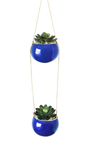 Fanci Life Garden 3 Inch Small Indoor And Outdoor Hanging Planter Flower Pot Ceramic Set With Natural Rope For Succulent