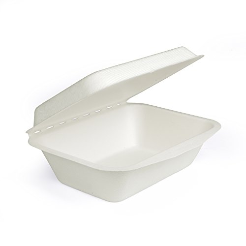 Roots Pack 20 oz White Clamshell Box made from Bagasse (Sugarcane Fiber) - Biodegradable Compostable Eco-Friendly - Pack of 50