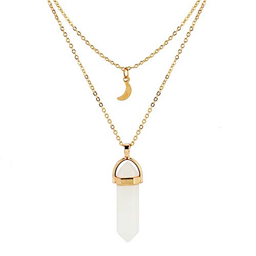 Wisslotus Bohemian Gemstone Pendant Layered Necklace Hexagonal Pointed Healing Reiki Chakra Multi Layer Opal Choker Necklace for Women (White-1)