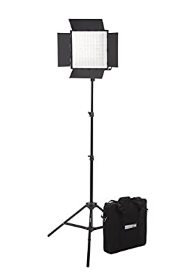 StudioPRO Premium Bi Color 600 LED Barndoor Video Film One Light Kit w LED Carrying Case by StudioPRO