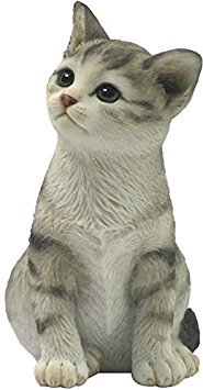 4.25 Inch Sitting Tabby Kitten Decorative Statue Figurine, White ()