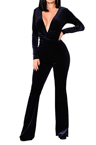 Flared Knot (VamJump Women Navy Blue Velvet Long Sleeve Deep V Neck Knot Flared Jumpsuits Romper L)