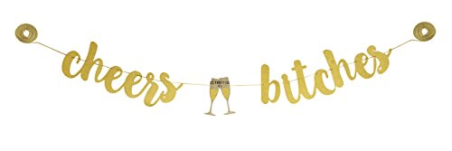 CC Party Co. CHEERS BITCHES Gold Glitter Banner with Champagne Glasses | bachelorette party | bridal shower | engagement party | wedding shower | birthday party -