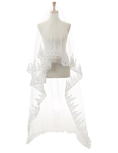 Anmor 3M 1T Lace Applique Sequin Cathedral Wedding Bridal Veil With Free Comb White