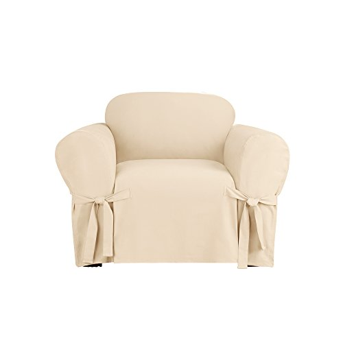 Duck Chair Slipcover Box Seat - Sure Fit Heavyweight Cotton Duck One Piece Box Cushion Chair Slipcover - Natural (SF41842)
