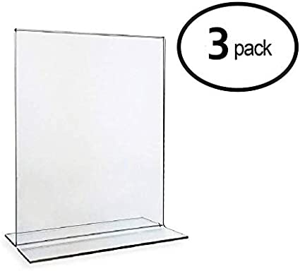 "Single Sheet Slanted Easel 3-Pack 8.5/"" X 11/"" Clear Acrylic Plexi Sign Holders"