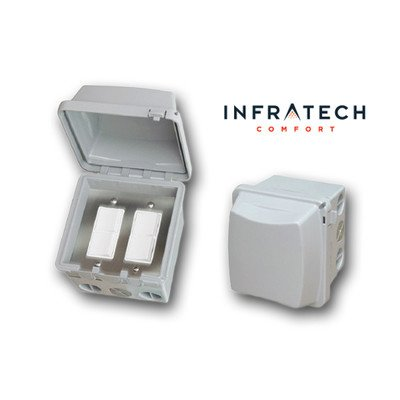 Infratech 14 4325 Accessory - Dual Duplex Switch Surface Mount & Gang Box 20 Amp Per Pole, Patio Heater Switch and Wall Plate