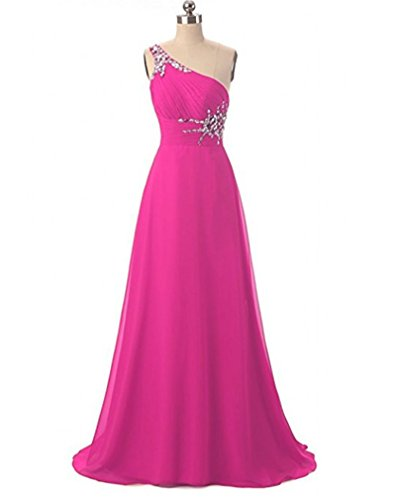 Fuchsia Chiffon Zipper (ANGELA One Shoulder Beaded Long Evening Prom Dresses Chiffon Wedding Party Gowns Fuchsia 14)
