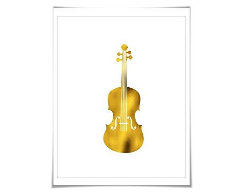 Folio Violin - Violin Gold Foil Art Print. 7 Foil Colours/3 Sizes. Musical Poster Gift for Musician Classical Music Decor Art