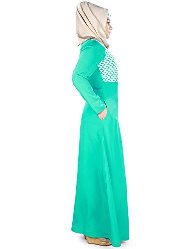 gestickte Abaya MyBatua Naseemah Doppelfarbe Frauen Geometrische qHHxUE4