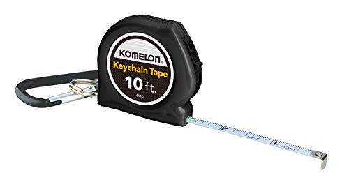 (Komelon 4110CS Keychain Tape Measure Acrylic Coated Steel Blade 10 ft by 1/4-Inch, Black)