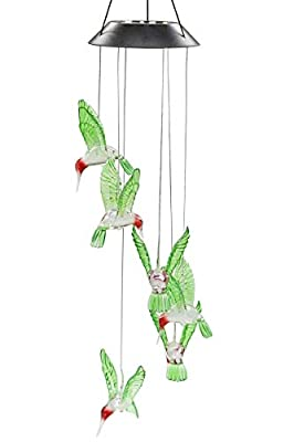Stormshopping LED Solar Hummingbird Wind Chime, Changing Color Waterproof Six Hummingbird Wind Chimes for Home Party Night Garden Decoration