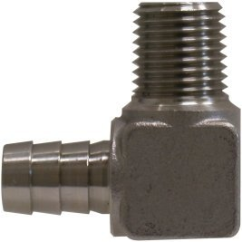 Midland 32-038SS Stainless Steel Machined Rigid Hose Barb Elbow, 1/4