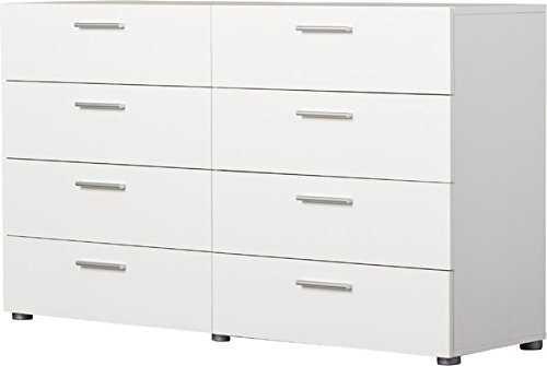 Finish Lacquer White Glossy - Charming 8 Drawer Chest Dresser, Metal Drawer Roller Glides, Ample Storage Space, Sturdy and Long Lasting Engineered Wood Construction, Plastic Handles, White Glossy UV Lacquer Finish