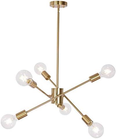 MELUCEE Sputnik Chandelier Brass 6 Lights Modern Pendant Lighting Sputnik Flush Mount Ceiling Light Industrial for Bedroom Living Room Dining Room Kitchen