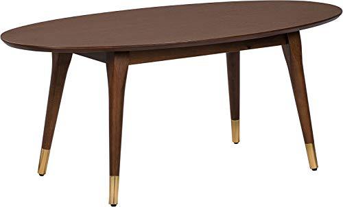 Walnut Oval Coffee Table - Elle Decor FUTB10061A Clemintine Coffee Table, Walnut