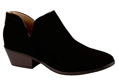 City Classified Women's Ankle Bootie Side V Black Suede 9