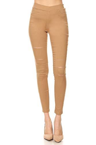 Jvini Women's Pull-On Ripped Distressed Stretch Legging Pants Denim Jean M Khaki