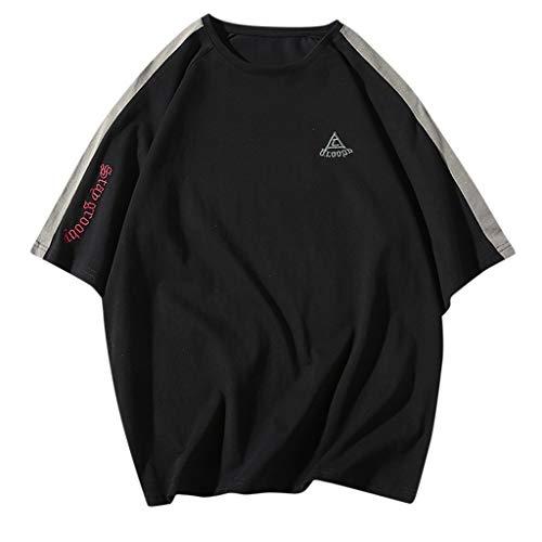 iYBUIA 2019 New Short Sleeve Men's Summer Korean Slim Trend Personality Solid Color Splice Fashion Boy T-Shirt Black]()