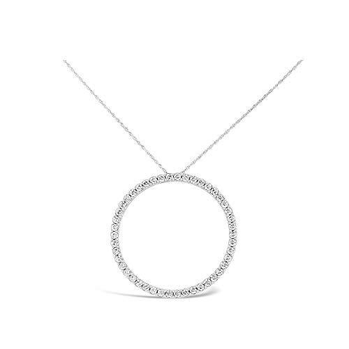 Brilliant Expressions 14K White Gold 1 Cttw Colorless Lab Created Conflict Free Diamond Circle Adjustable Pendant Necklace (E-F Color, VS2-SI1 Clarity), 16-18 inch